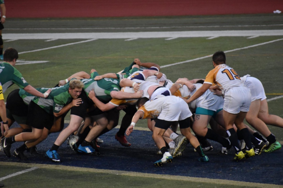The JCU Rugby Team battles at mid-field during a game at Don Shula Stadium.
