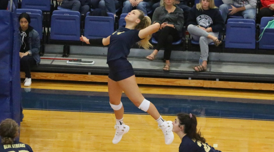 Freshman Cassi Calamunci winds up on the right side for one of her seven kills against the Muskingum Fighting Muskies on Sept. 29.