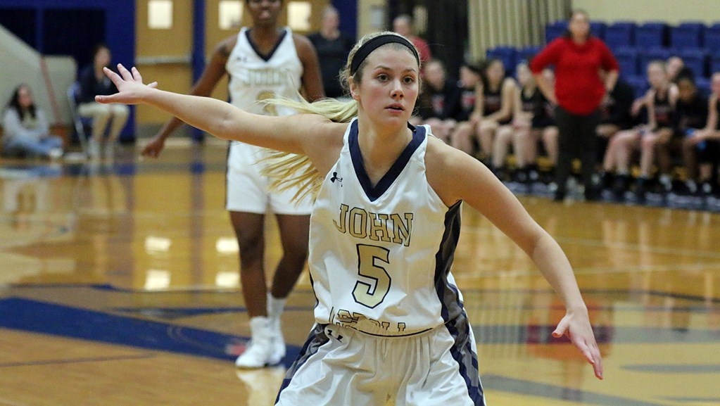 Junior Sarah Sprecher looks to show her strong defensive presence against Muskingum in a game on Friday Jan. 18 at the Tony DeCarlo Varsity Center
