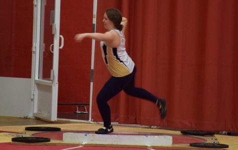 Freshman thrower Olivia Hurtt winds up to throw at the Midwest Open held at the Spire Institute in Geneva, Ohio. (JCU Sports Information)