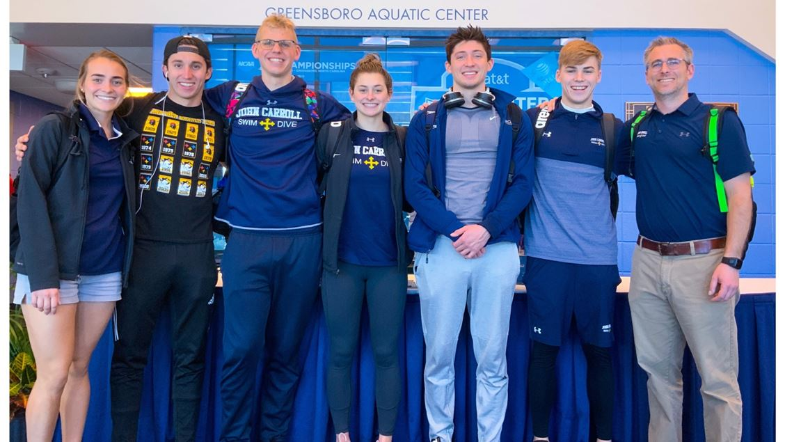 Pictured from left to right at NCAA's: L. Tamas, M. Ramsey, F. Campbell, G. Ledrick, J. Cooper, A. Lenz, and M. Fino.