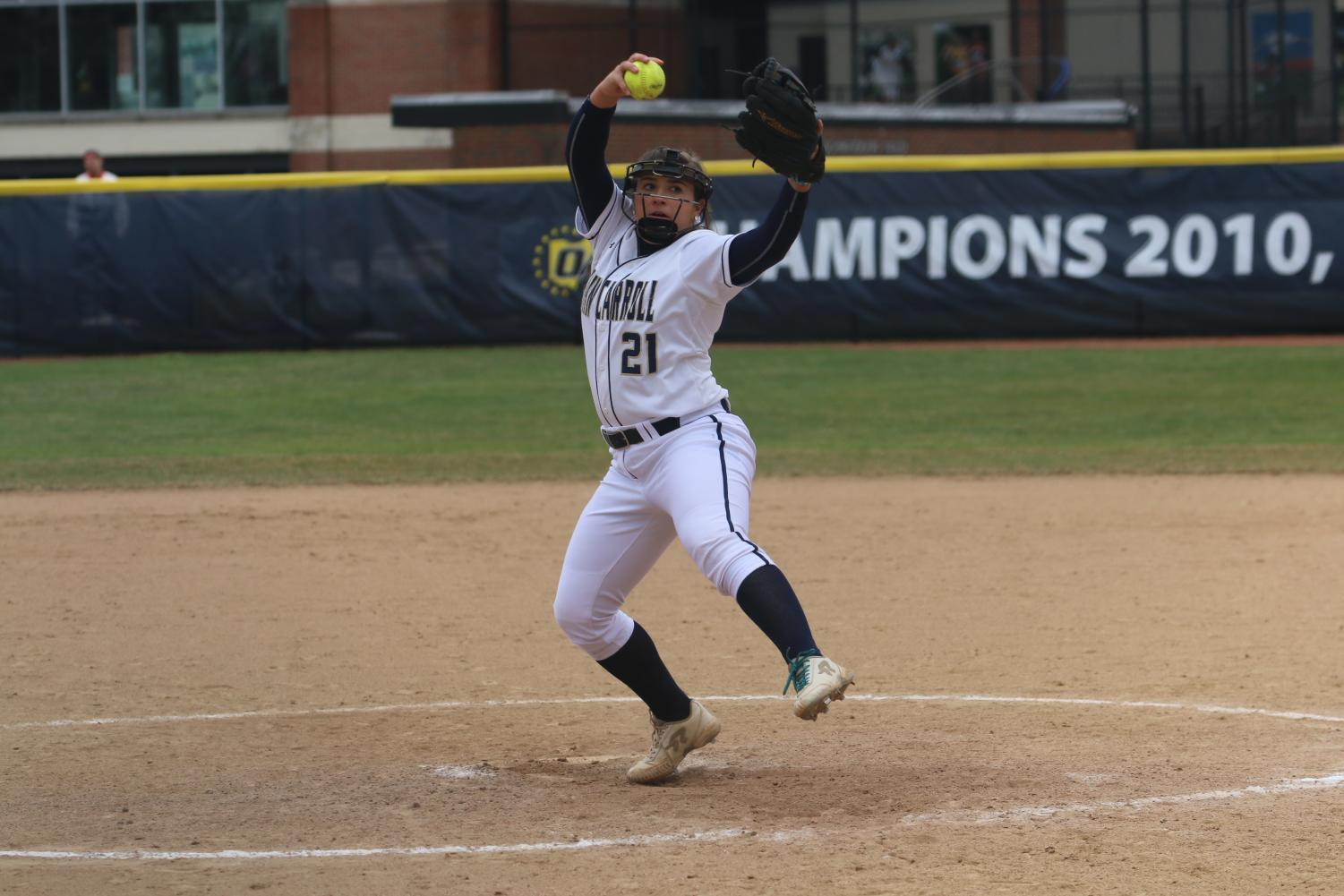 Junior pitcher Jenn Patterson winds up for a pitch against Baldwin Wallace on Saturday, April 6 at Bracken Field.
