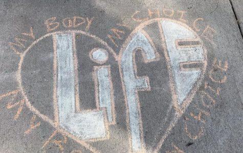 Pro-life chalk demonstration gets defaced
