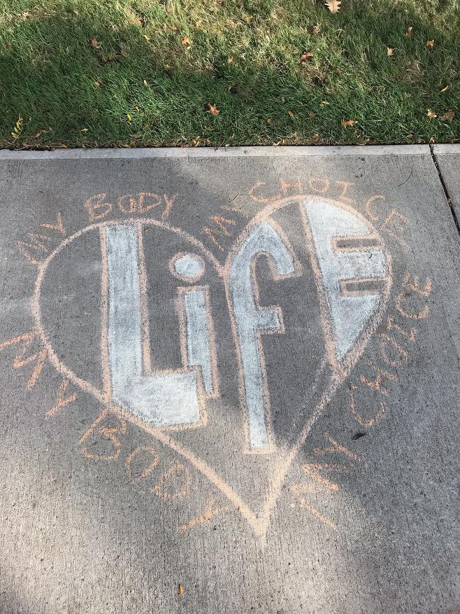 "Above is a heart drawing that had been defaced with ""my body, my choice.""  (Photo courtesy Sophia Maltese)"