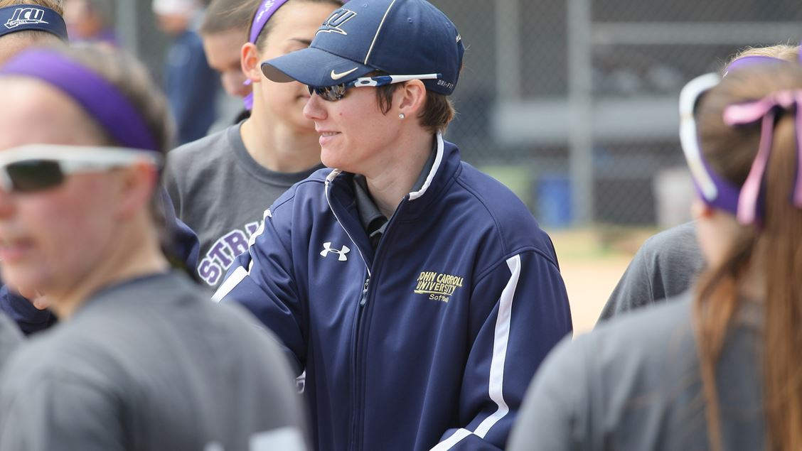 JCU head softball coach Nicole Loudin during a game at Schweickert Field on campus.