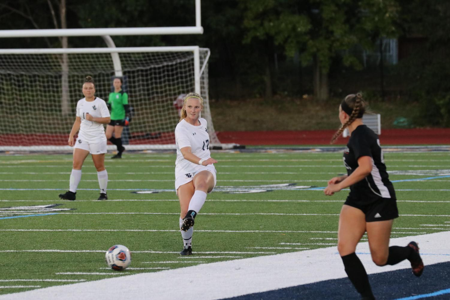 Freshman midfielder Claire Hollern (17) executes a pass in a game at Don Shula Stadium on Saturday, Oct. 12, 2019.