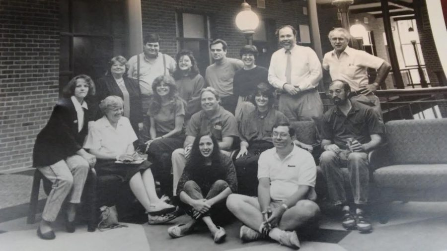 Pictured above is the Communication Department faculty from 1994. Professor Douglas Bruce is seated on the far right, in the middle row. (Photo courtesy of Douglas Bruce)
