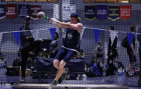 Junior Jacob Fritsch attempts a throw in a competition at Case Western on Saturday, Dec. 7.