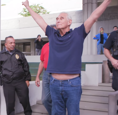 "Roger stone made a V"" for victory pose after his arrest"""