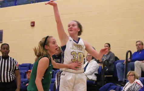 Junior Abby Adler poses after shooting a 3-pointer in the OAC Quarterfinal vs. Wilmington.