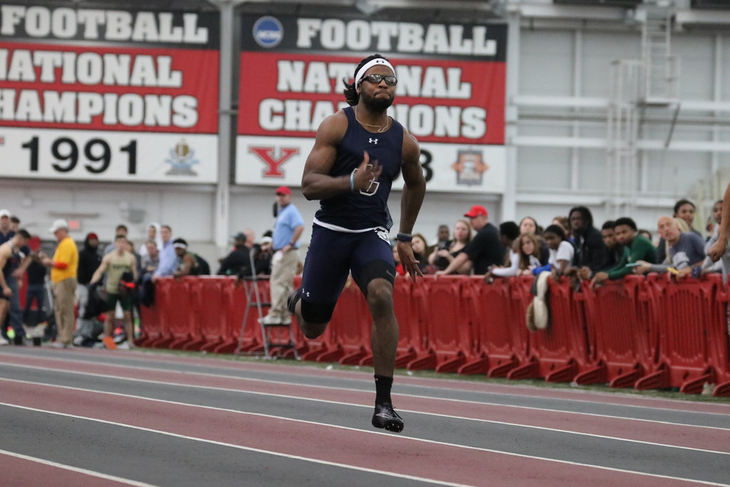 Junior sprinter Deven Ward races in a meet at Youngstown State.