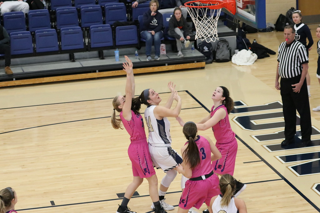 Sophomore Olivia Nagy drives to the rim in a game at the Tony DeCarlo Varsity Center in a game against Capital on Feb. 8.