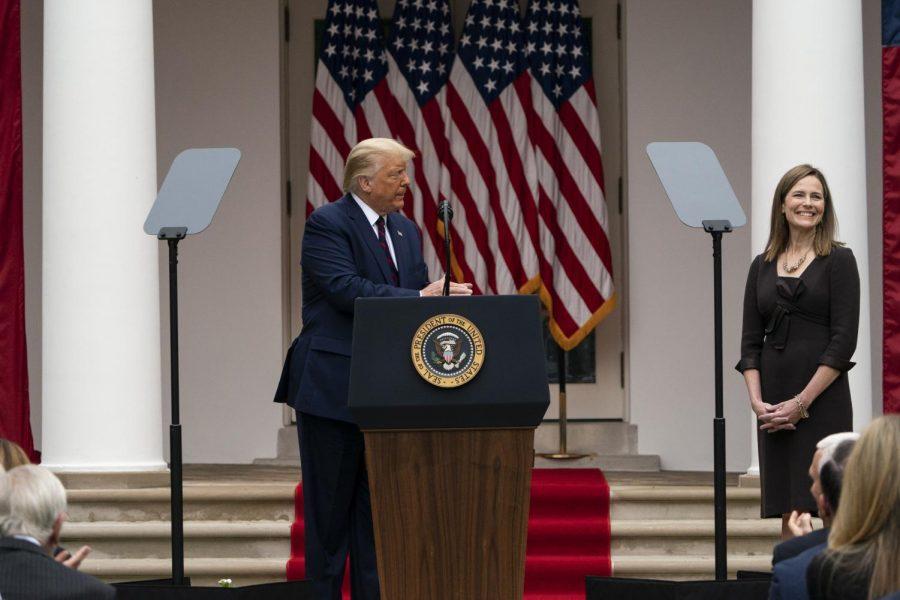 President Donald Trump speaks as he announces Judge Amy Coney Barrett as his nominee to the Supreme Court. (AP Photo/Alex Brandon)