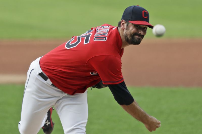 Cleveland Indians starting pitcher Adam Plutko delivers in the first inning in a baseball game against the Chicago Cubs, Tuesday, Aug. 11, 2020, in Cleveland. (AP Photo/Tony Dejak)