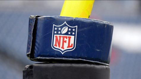 An NFL logo is seen on a goalpost pad before an NFL football game between the Tennessee Titans and the Tampa Bay Buccaneers Sunday, Oct. 27, 2019, in Nashville, Tenn. (AP Photo/Mark Zaleski)