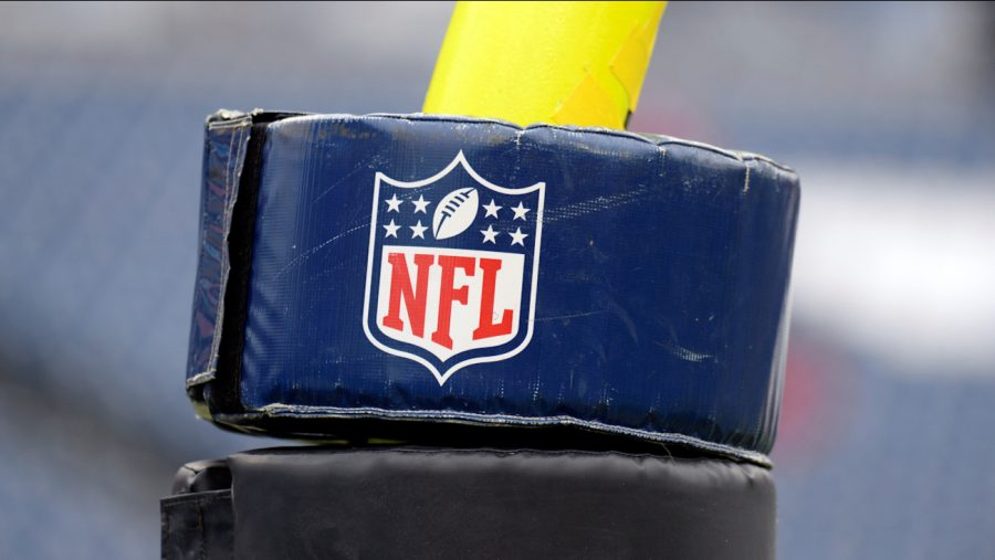 An+NFL+logo+is+seen+on+a+goalpost+pad+before+an+NFL+football+game+between+the+Tennessee+Titans+and+the+Tampa+Bay+Buccaneers+Sunday%2C+Oct.+27%2C+2019%2C+in+Nashville%2C+Tenn.+%28AP+Photo%2FMark+Zaleski%29