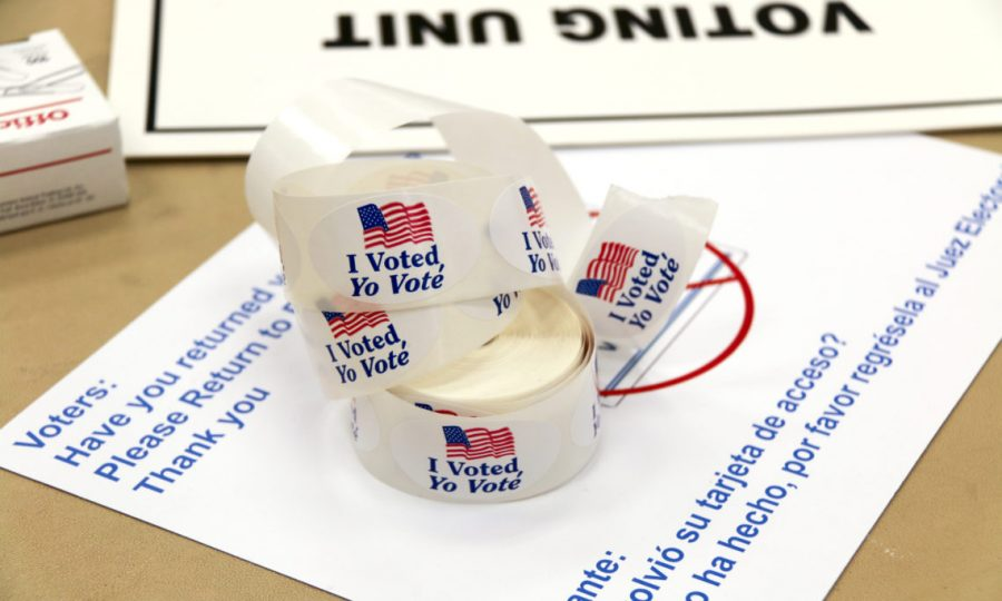 """I voted"" stickers in English and Spanish, Virginia, USA, November 2014. (Organization for Security and  Co-operation in Europe (OSCE) photo.)"