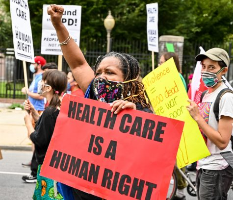 Protestors march during the Philadelphia Medicaid March on Oct. 1