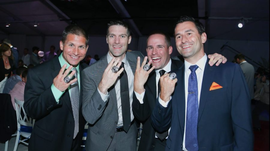Jerry Schuplinski (left), Nick Caserio (middle left), Josh McDaniels (middle right), Dave Ziegler (right) are all JCU alums