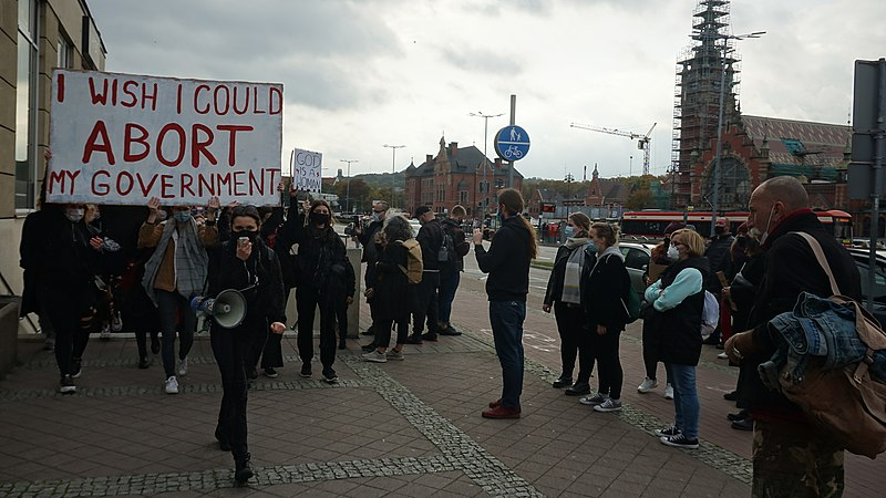 Protest against Poland's new abortion laws held in Gdansk on Oct. 24