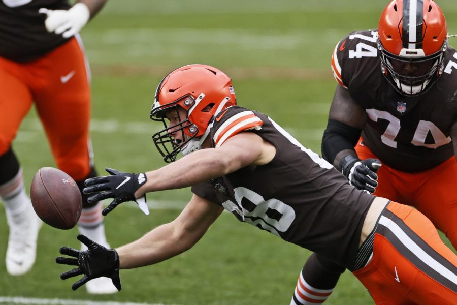 """""""Cleveland Browns tight end Harrison Bryant (88) fumbles the ball during the first half of an NFL football game against the Las Vegas Raiders, Sunday, Nov. 1, 2020, in Cleveland."""" (AP Photo/Ron Schwane)"""