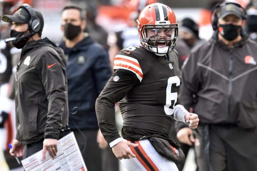 """Cleveland Browns quarterback Baker Mayfield (6) reacts during the first half of an NFL football game against the Houston Texans, Sunday, Nov. 15, 2020, in Cleveland."" (AP Photo/David Richard)"