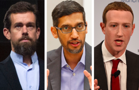 Photos of Twitter CEO Jack Dorsey, Google/Alphabet CEO Sundar Pichai and Facebook CEO Mark Zuckerberg from 2018-2020 (AP Photo/Jose Luis Magana, LM Otero, Jens Meyer)
