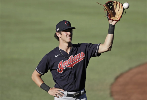 Nolan Jones plays in a Cleveland Indians uniform.