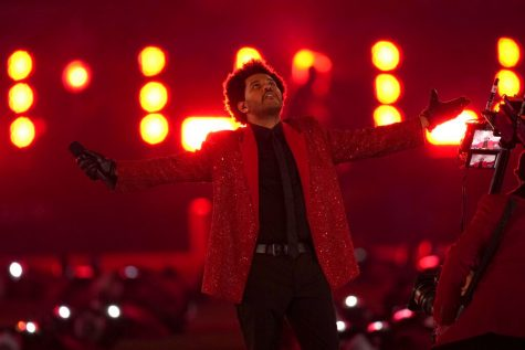 The Weeknd performs during the halftime show of the NFL Super Bowl 55 football game between the Kansas City Chiefs and Tampa Bay Buccaneers.