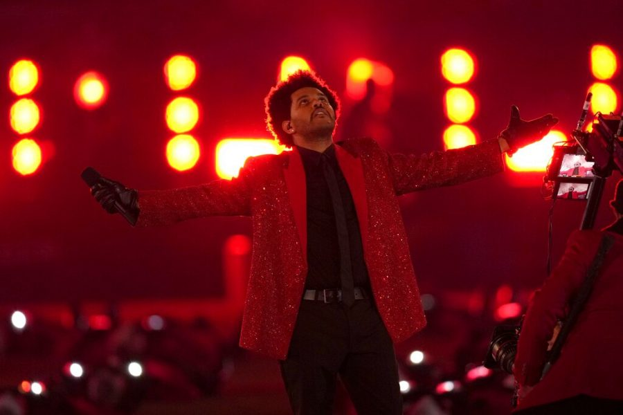 The+Weeknd+performs+during+the+halftime+show+of+the+NFL+Super+Bowl+55+football+game+between+the+Kansas+City+Chiefs+and+Tampa+Bay+Buccaneers.