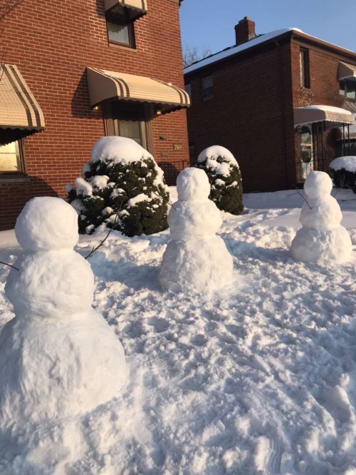 The three snowmen Rajakovich, Mirmohamed and Minutello created.