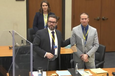 In this screen grab from video, defense attorney Eric Nelson, left, defendant and former Minneapolis police officer Derek Chauvin, right, and Nelson