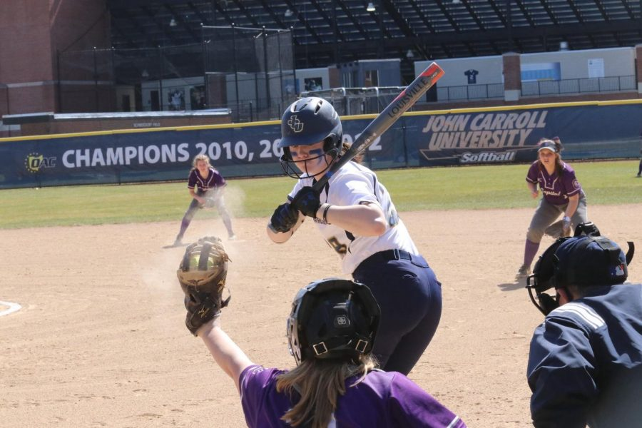 Gracie Bressoud looks at a pitch against Capital University at Bracken Field on Sunday, May 21, 2021.
