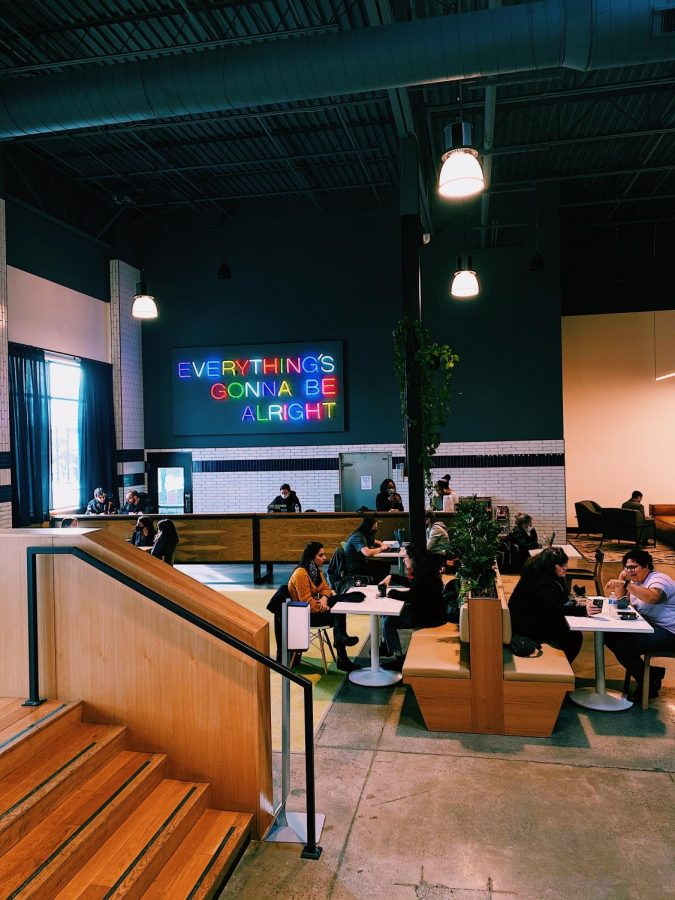 Stop by the Market Hall for an americano from Rising Star Coffee then grab a seat in the many corners of the building.