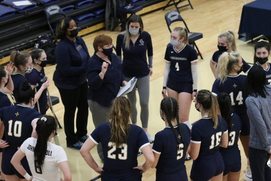 Michelle Benoit (middle, clipboard in hand) talks to her team during a timeout against Muskingum on March 12, 2021, at the Tony DeCarlo Varsity Center