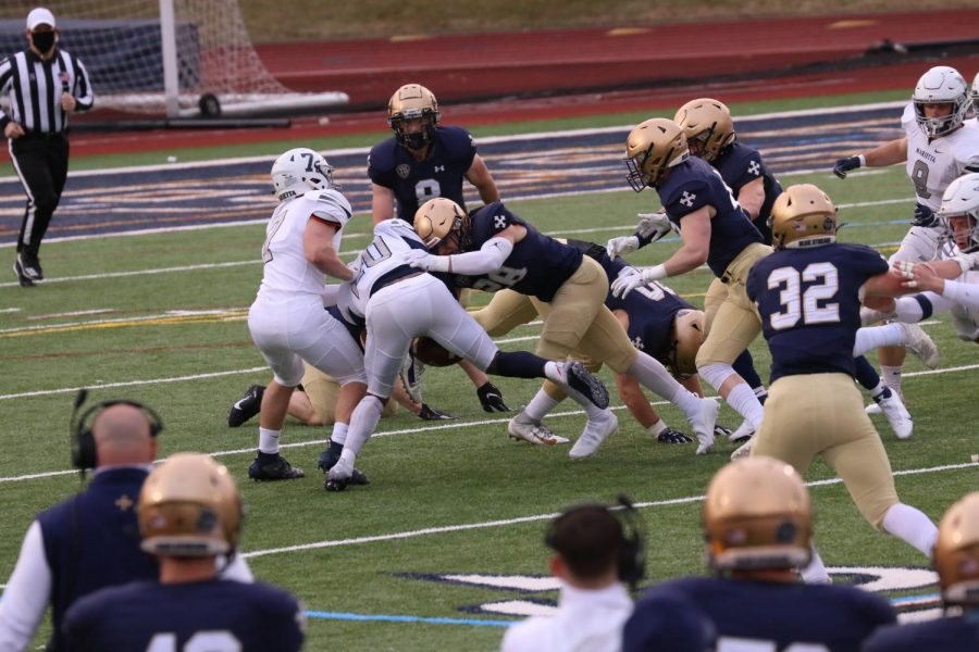 On the opening kick-off, the John Carroll special teams unit forced a fumble against Marietta at Don Shula Stadium on March 26, 2021.