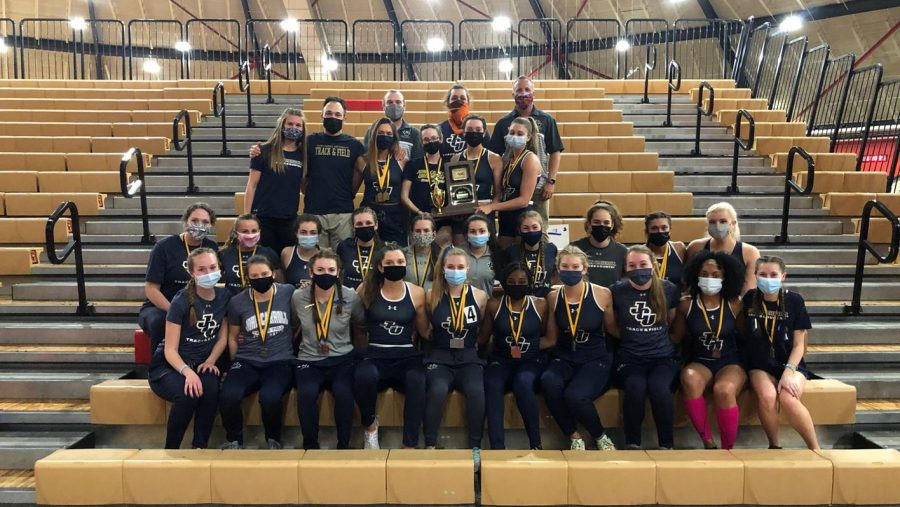 The John Carroll University Women's Track and Field Team after the Indoor OAC Championships on March 4.