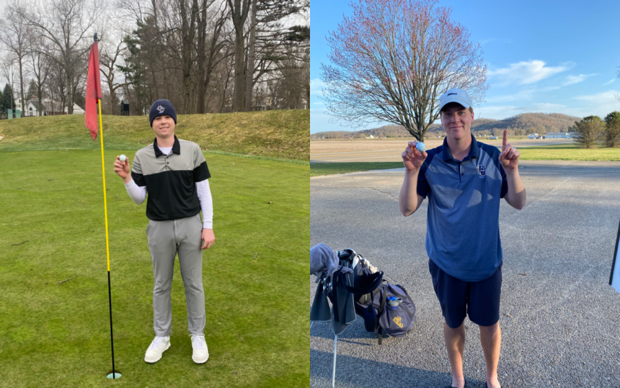 Jacob Hazen (left) and Ellis Langermeier (right) hold the golf ball in their hands after hitting hole-in-one on Friday and Saturday.