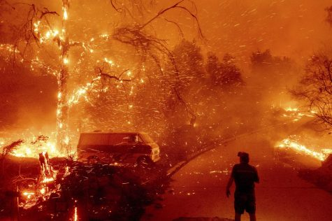 Bruce McDougal watches flames consume his property on Dec. 3, 2020 as the Bond Fire burns through the Silverado community in Orange County, Calif.
