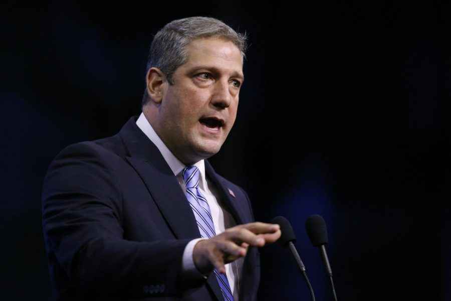 In this Sept. 7, 2019, file photo, Rep. Tim Ryan, D-Ohio, speaks during the New Hampshire state Democratic Party convention in Manchester, N.H. Ryan, a 10-term representative from Ohio's blue-collar Mahoning Valley, officially launched his bid Monday, April 26, 2021, for a coveted open Senate seat in Ohio. He becomes the Democratic frontrunner as the party goes after Republican Rob Portman's seat in what stands to be one of 2022's most closely watched Senate contests.
