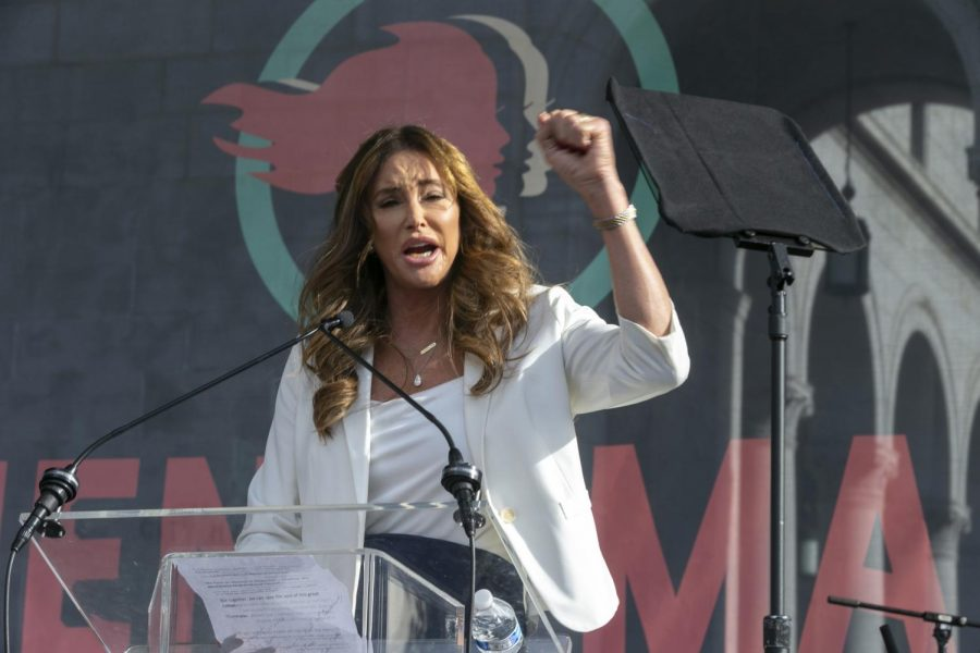 In this Jan. 18, 2020, file photo, Caitlyn Jenner speaks at the 4th Women's March in Los Angeles. In her four days as a candidate for California governor, Jenner had a twitter spat with a Democratic congressman, unveiled a website to sell campaign coffee mugs and swag and was photographed with a startup business owner.