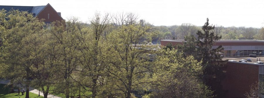 A view of Grasselli Library from a window on the south side of the Admin building. (Photo by Aiden Keenan '22).