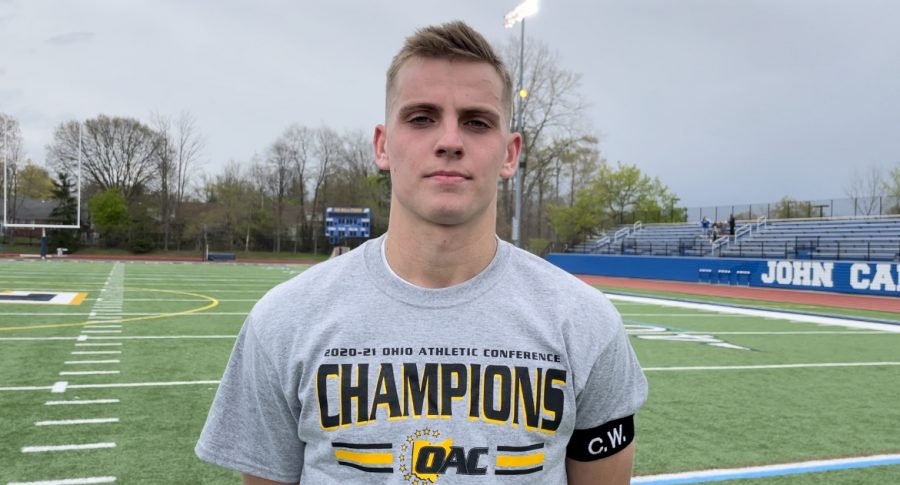 William Turrittin after winning the Ohio Athletic Conference Tournament championship against Marietta at Don Shula Stadium on Sunday, April 18, 2021.