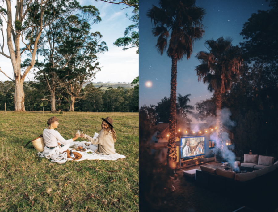 During a beautiful afternoon, hit up your favorite park and bring your favorite snacks for an impromptu picnic. At night, whether you use a projector in your backyard at home or head to the local drive-in, outdoor movie nights are definitely going to be  popular this spring.