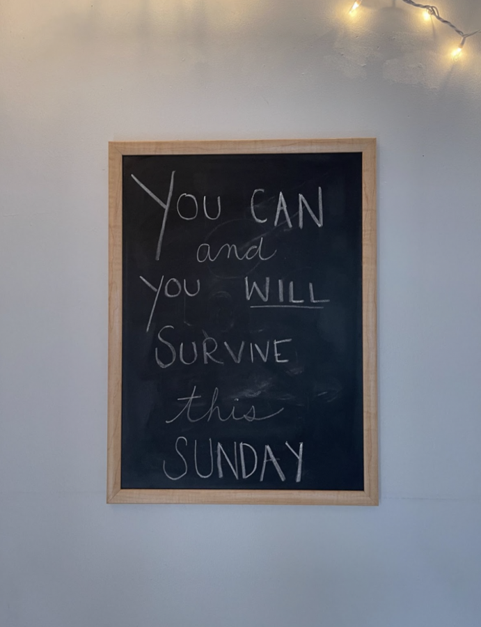 This sign is on the wall of Kaitlin's house serves as a good reminder to be motivated and stay on track.