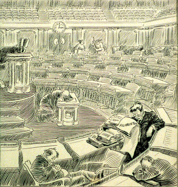 Cartoon+depicting+a+Senate+filibuster+by+artist+John+T.+McCutcheon%2C+published+in+the+Chicago+Tribune%2C+May+26%2C+1928.+Image+from+the+United+States+Senate+