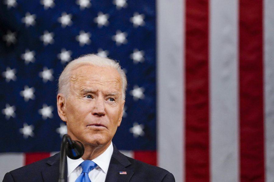 President Joe Biden addresses Congress, Wednesday, April 28, 2021, in the House Chamber at the U.S. Capitol in Washington. (Melina Mara/The Washington Post via AP, Pool)