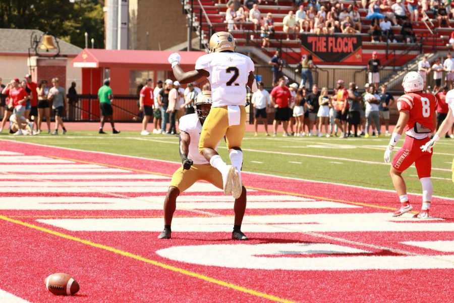 Demerius+Goodwin+Celebrating+after+a+touchdown+in+the+Blue+Streaks+41-17+victory+over+Otterbein+University+on+Saturday%2C+Sept.+18.+