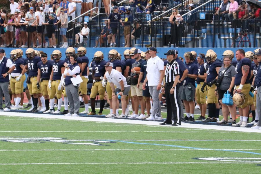 The sideline and stands of John Carroll's first football game back against Washington and Jefferson on Sept. 4, 2021.