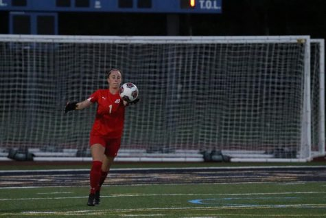 John Carroll goalkeeper Danielle DelGiudice punting a ball in one of this seasons games.